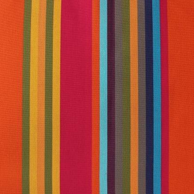 Oranje, rode, blauwe en roze gestreepte dralon stof