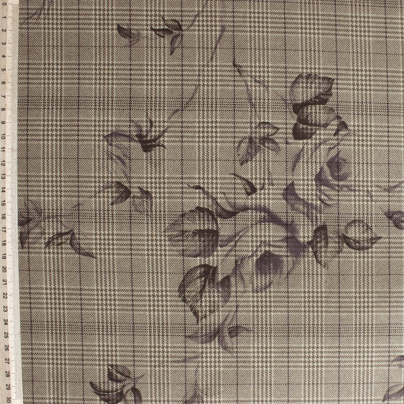 Polyester fabric with beige flowers on beige checkered background