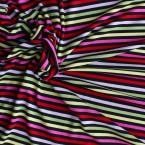 Jersey stof rood, roze, groen en geel gestreept op zwarte achtergrond