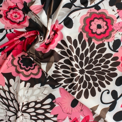 Polyester fabric with black, pink and beige flowers on beige background