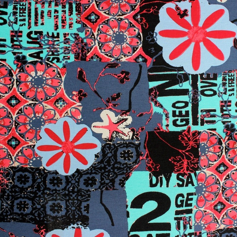 Jersey fabric of viscose and elasthanne with pink flowers on blue background