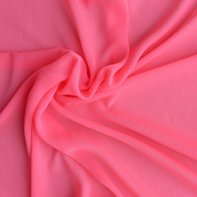 Polyester veil fabric plain pink fluo