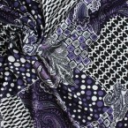 Tissu en polyester à motifs géométriques blanc et mauve sur fond noir