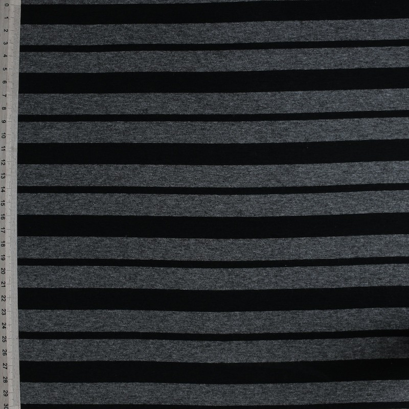Jersey fabric of viscose and elasthanne with grey and black lines