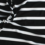 Tissu jersey en viscose et élasthanne à lignes blanc et noir