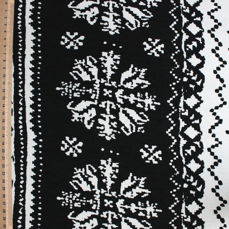 Tissu en viscose et élasthanne à motifs géométriques blancs sur fond noir