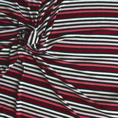 Jersey stof rood, roze, wit en zwart gestreept