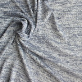 Tissu maille en polyester, coton et lurex blanc et bleu