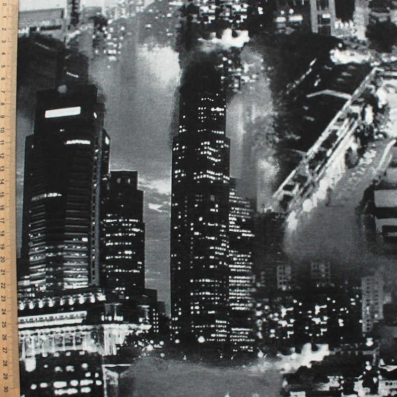 Jersey fabric of viscose and elasthanne with grey and black townscape