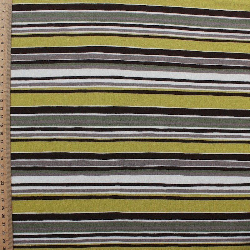 Jersey fabric of viscose and elasthanne with green and beige lines