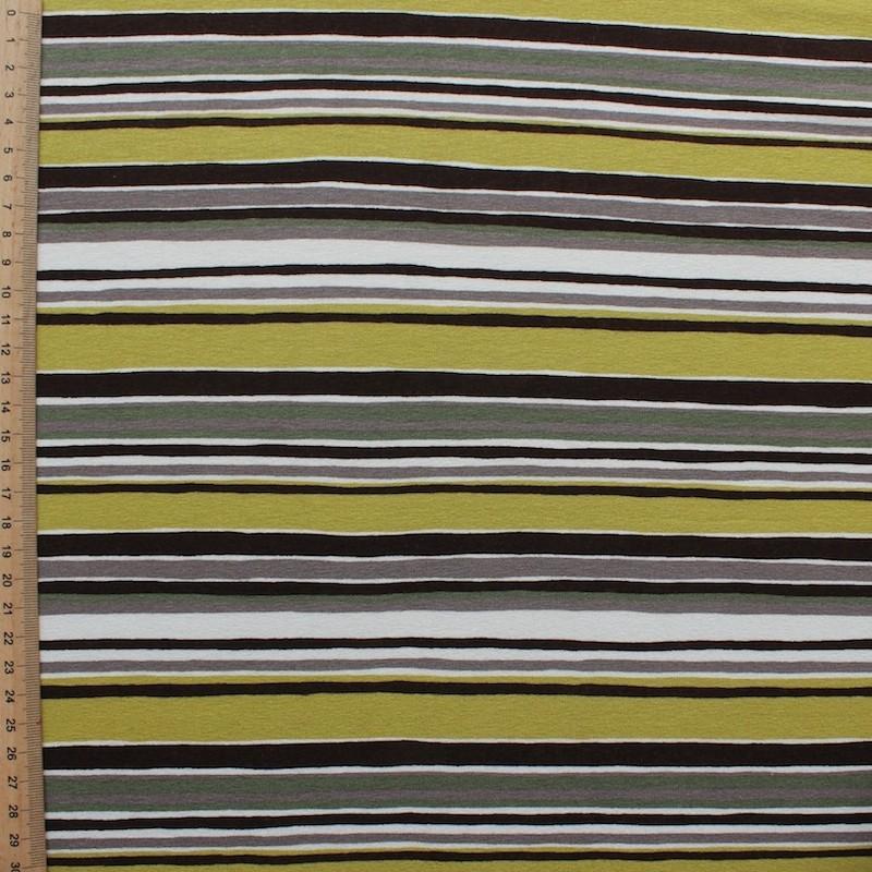 Jersey stof uit viscose en elastaan beige en groen gestreept