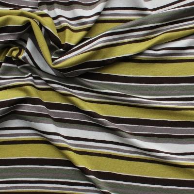 Tissu jersey en viscose et élasthanne à lignes beige et vert