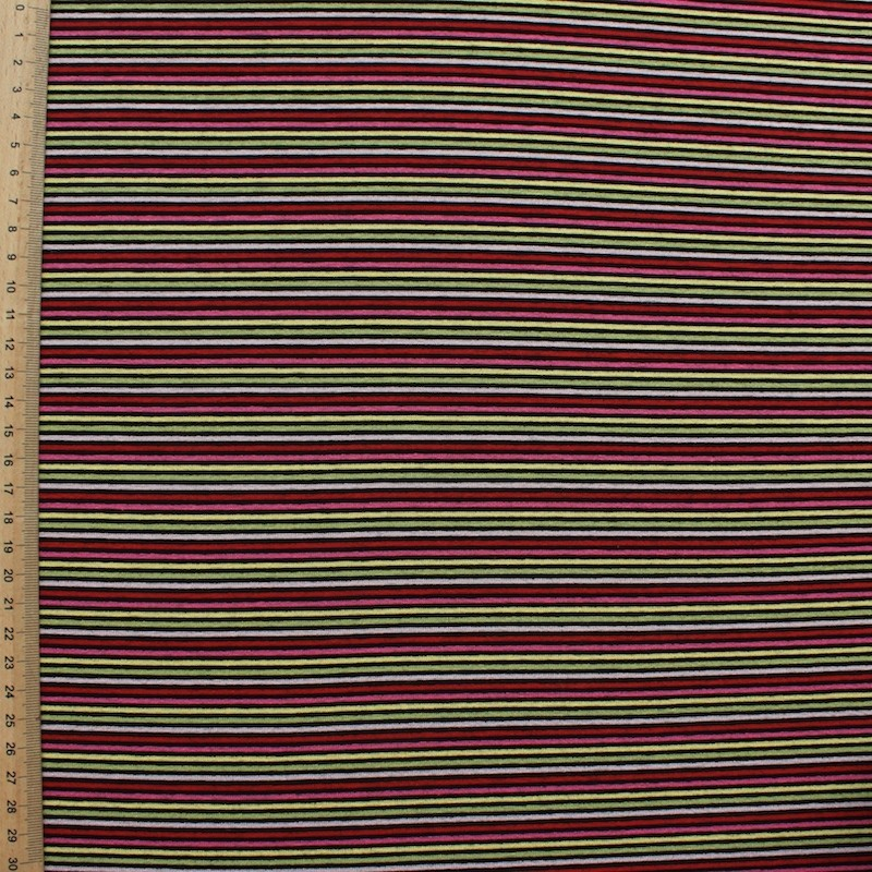 Jersey fabric of viscose and elasthanne with red, pink, green and yellow lines on black background