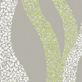 Beige linnen fabric with white and green flower design