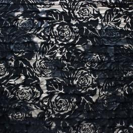 Tissu jersey en polyester à fleurs dorées sur fond noir