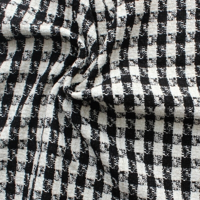 Checkered fabric in viscose, wool and polyester - black and white