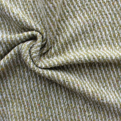 Green and white wool and polyamide fabric