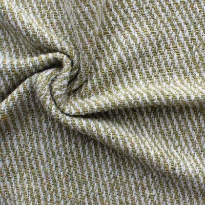 Tissu en laine et polyamide vert et blanc