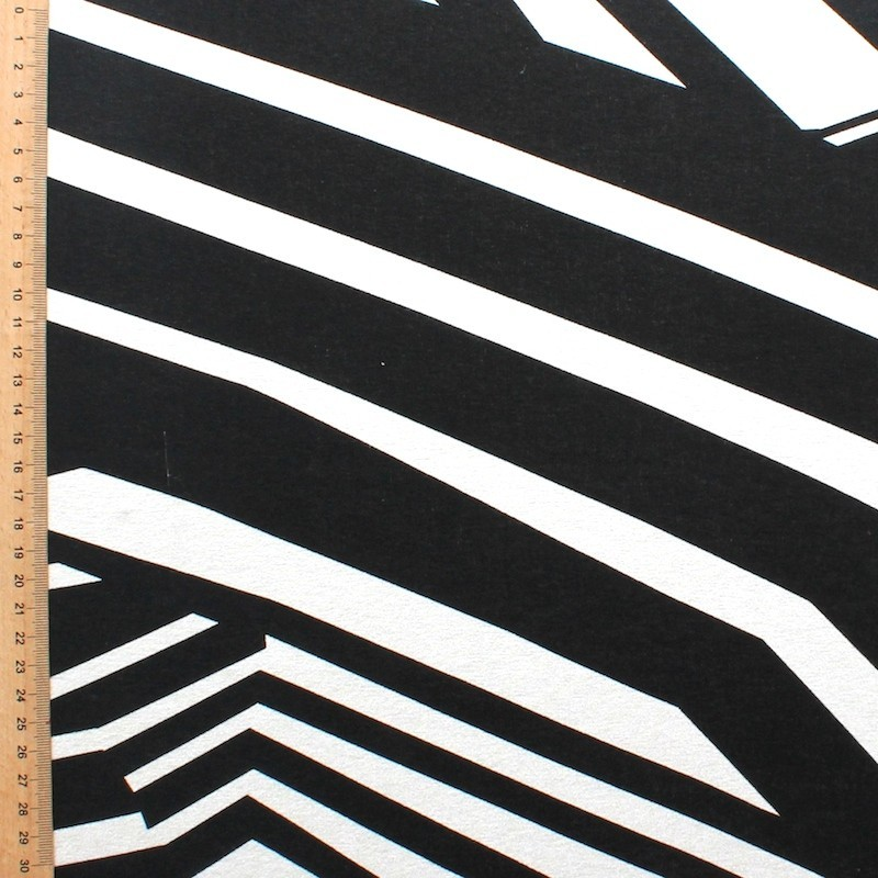 Jersey fabric of viscose and elasthanne with white and black lines