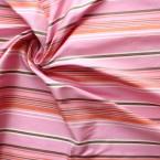Pink, grey and white striped wild silk fabric