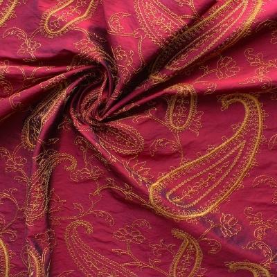 Grenat wild silk with orange embroidered design