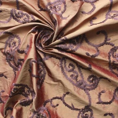 Salmon wild silk with purple embroidered design