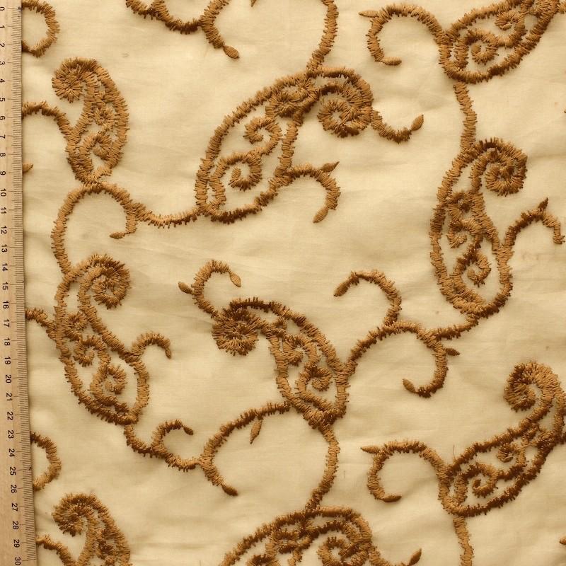 Organza with orange embroidered design