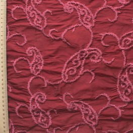 Bordeaux wild silk with old pink embroidered design