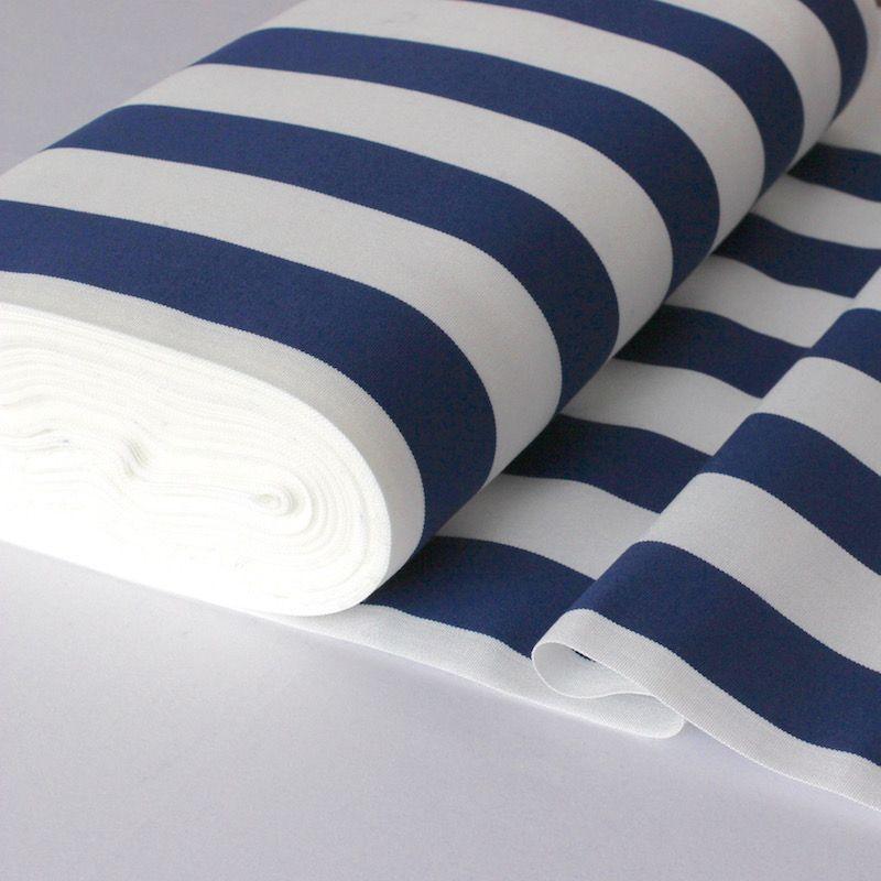 Toile transat lignes blanc et bleu for Tissu pour transat exterieur