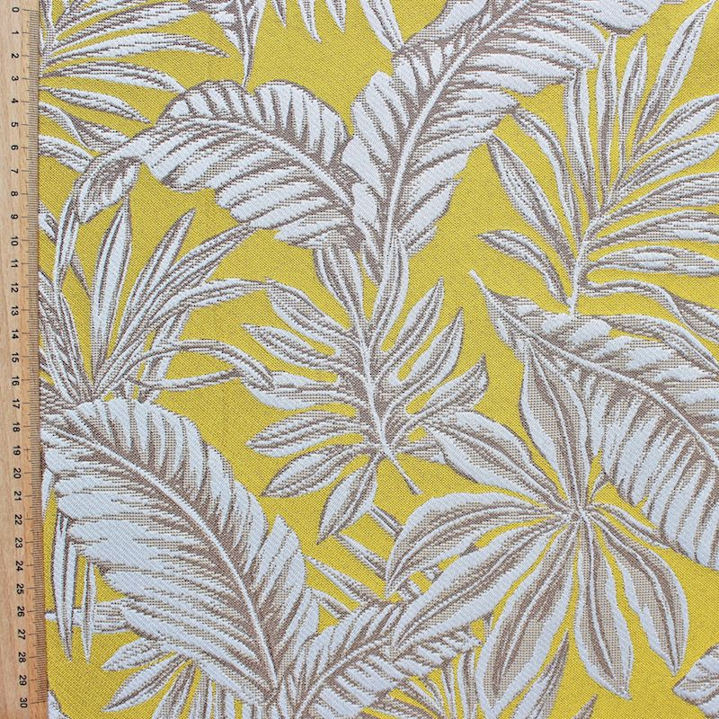 tissu jacquard feuillage tropical jaune. Black Bedroom Furniture Sets. Home Design Ideas