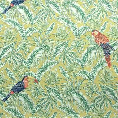 Tissu jacquard feuillage tropical et perroquets
