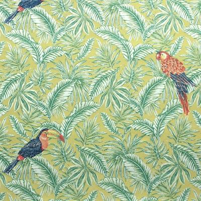 tissu jacquard feuillage tropical vert et perroquets. Black Bedroom Furniture Sets. Home Design Ideas