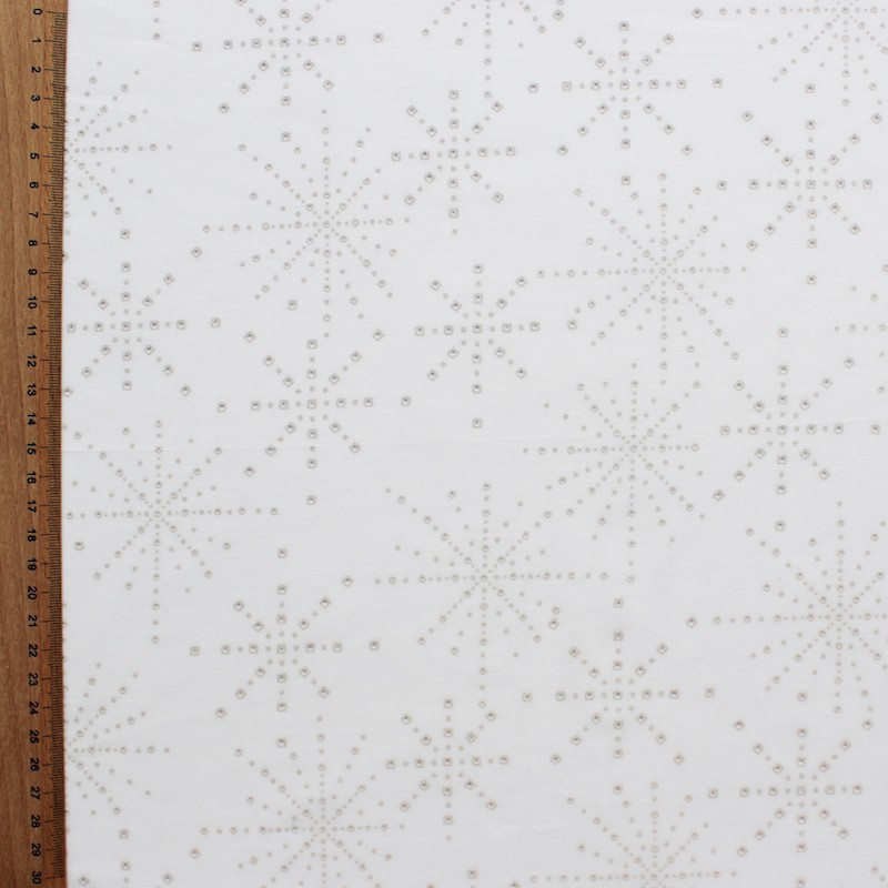 Cotton fabric with blue dots on blue background