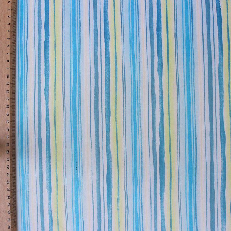 Katoenstof met geel, blauwe en turkooise strepen