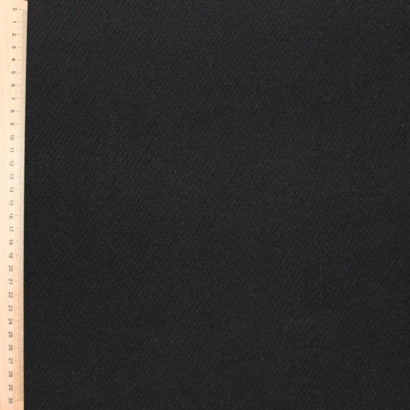 Black wool and polyamide fabric