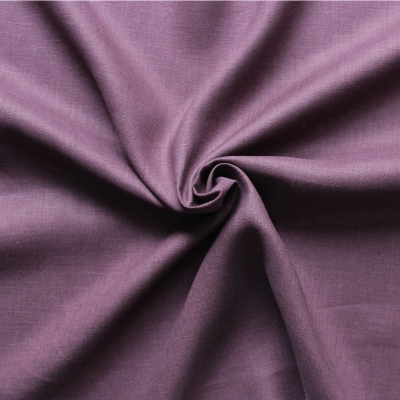 Tissu en 100% lin uni mauve foncé